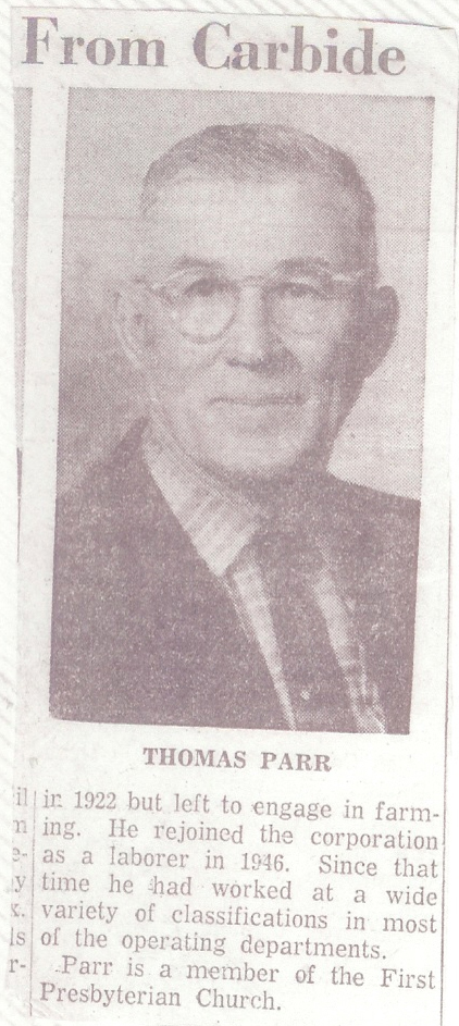 Thomas Parr in newspaper - Paul's grandfather
