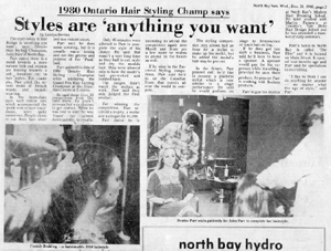 1980 Ontario Hair Stylists Champ says Styles are 'anything you want'