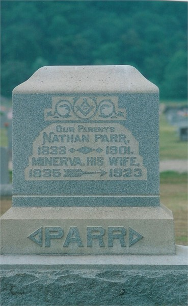 Nathan Parr and Minerva McDade headstone