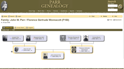 screen print of the Parr Genealogy software in use
