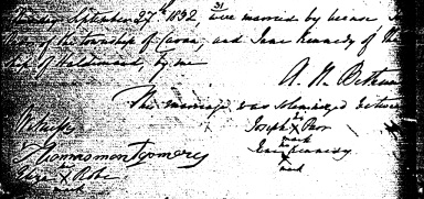 Joseph Parr and Jane Kennedy's marriage registration from church records