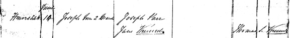 Joseph Parr's birth registration from church records