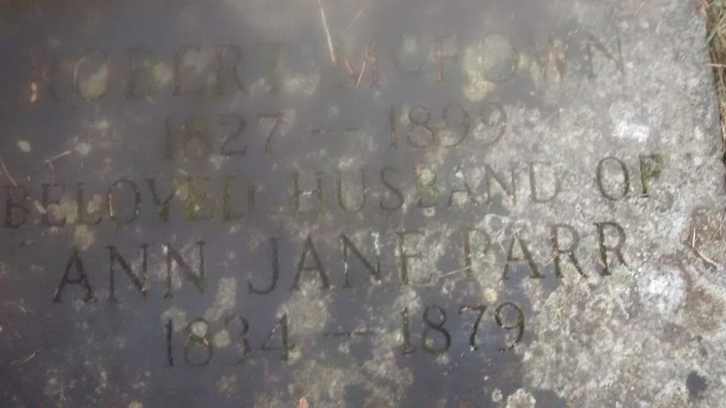 headstone marker for Robert McEown and Ann Jane Parr
